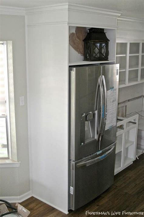 cabinet enclosure for refrigerator small white kitchen makeover with built in fridge