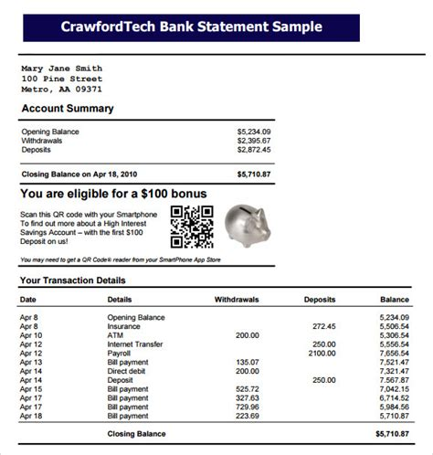 10 Bank Statement Templates Free Sles Exles Format Sle Templates Bank Account Statement Template