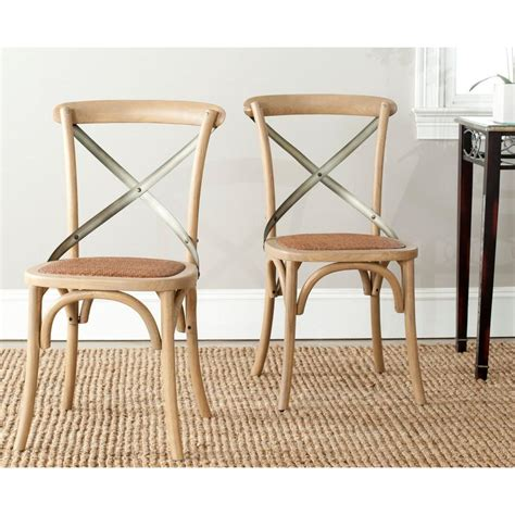 Safavieh Bistro Chairs Safavieh Eleanor Weathered Oak X Back Side Chair Set Of 2 Amh9501c Set2 The Home Depot