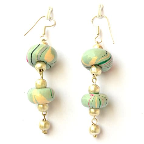 Handmade Earings - handmade earrings disc shaped pale turquoise color