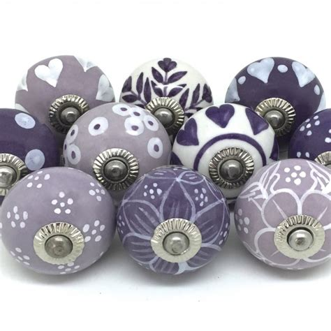 Purple Door Knobs by Fp31 Set Of 10 Purple Lilac White Fp31 163 29 99