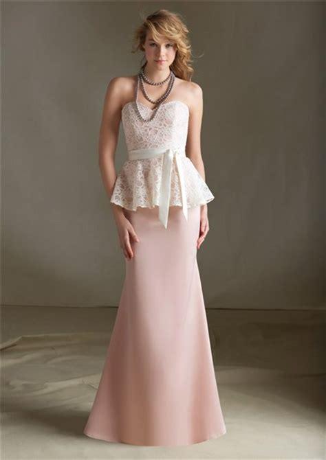 light pink peplum dress mermaid sweetheart long light pink satin lace peplum