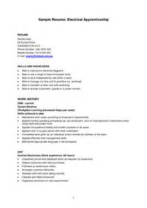 Apprentice Resume Experienced Apprentice Electrician Sample Resume Vntask Com