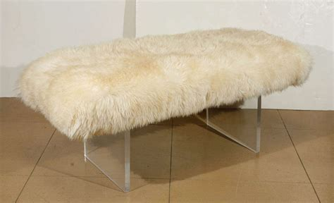 sheepskin bench sheepskin and lucite bench at 1stdibs