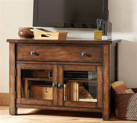 small tv console table benchwright tv stand small pottery barn