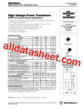 transistor mje340 datasheet mjd340 datasheet pdf motorola inc