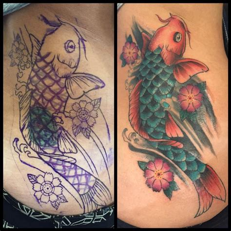koi tattoo old school american traditional style cover up with a koi fish by