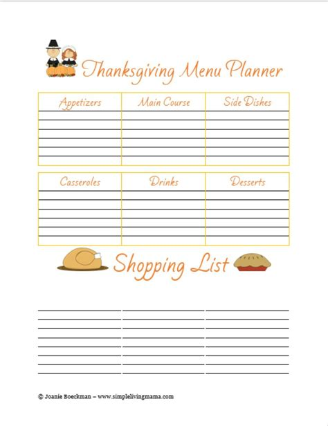 printable thanksgiving planner free printable thanksgiving menu planner simple living mama