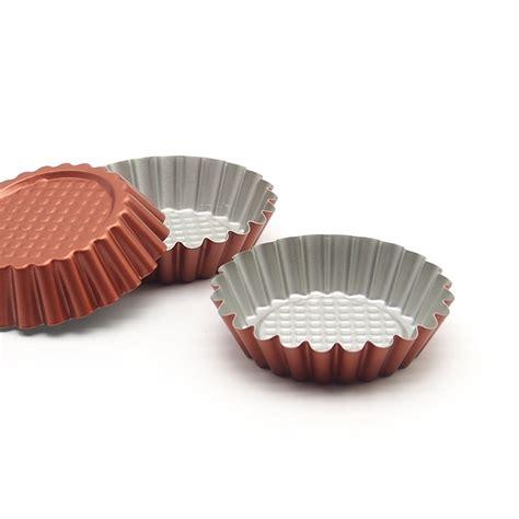Non Stick Tart Pie Quiche Pan 6 non stick carbon steel mini tart pans reusable