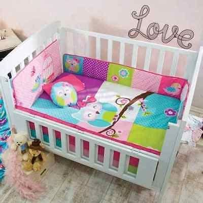 Pink Owl Crib Bedding Details About Baby Blue Green Pink Owl Nursery 6 Pieces Crib Bedding Set Pink Owl Baby