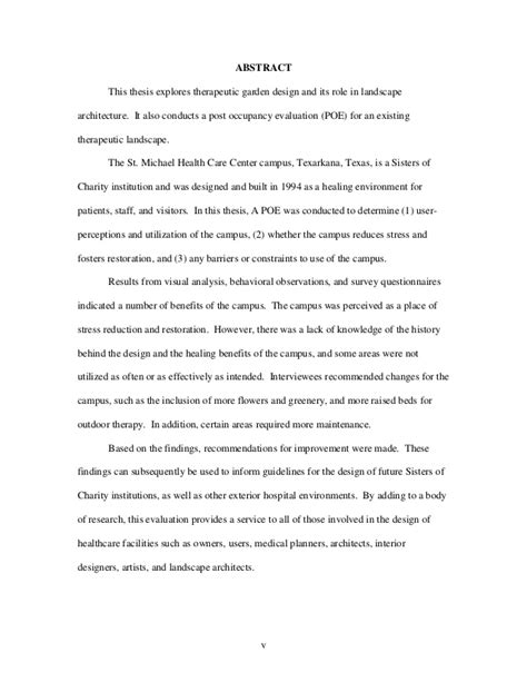 health thesis abstract nature is to nurture saint michael health care center