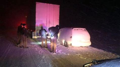 Minivan In Snow by Desperate 911 Call As Semi Drags Minivan 16 Through