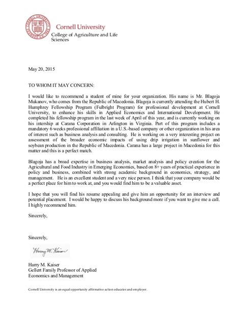 Recommendation Letter Sle By Professor Letter Of Recommendation Professor Harry Kaiser Cornell