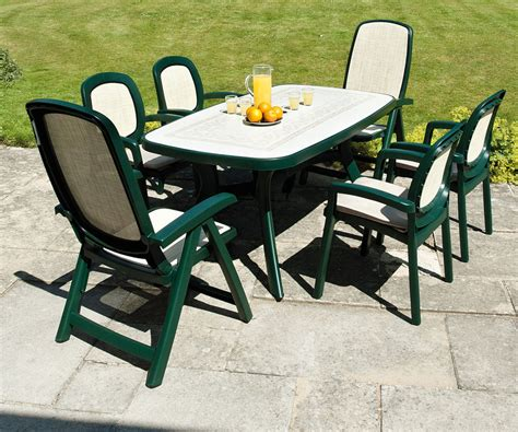 Garden Plastic Table Uk Chairs Seating Green Patio Table