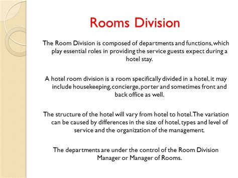 what is room division management in hotel classification of functional areas ppt