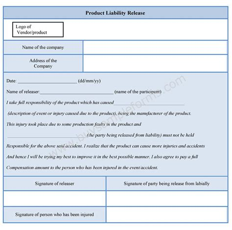 product liability release form sample forms