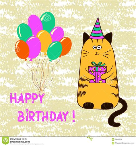 template birthday card illustrator happy birthday card template with cute cat stock vector