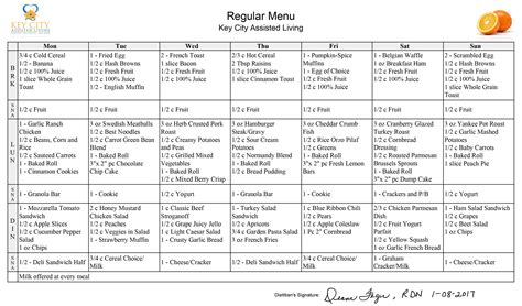 Assisted Living Menus Pictures To Pin On Pinterest Thepinsta Assisted Living Menu Template