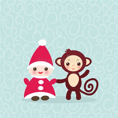 Happy Monkey Blue 2016 happy new year card gnome in hat stock vector image 62330666