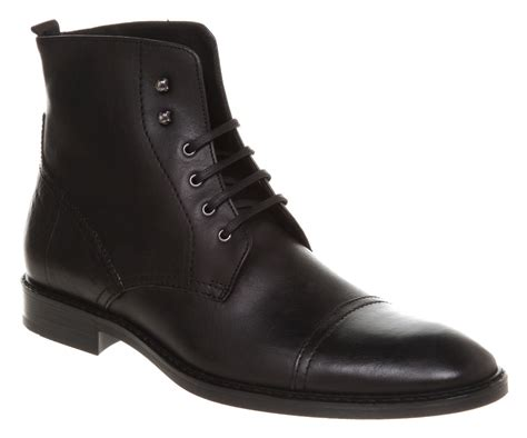 mens black cap toe boots mens office toe cap boot black leather boots ebay
