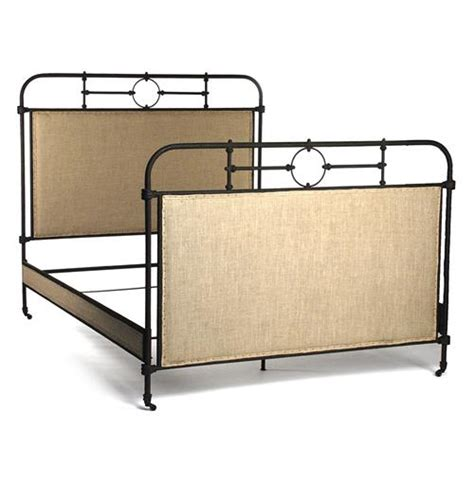 Industrial Bed Frame Alaric Burlap Antique Iron Industrial Rustic Bed Frame Kathy Kuo Home