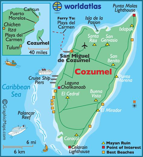 cozumel map international pier to chankanaab park cruise critic message board forums