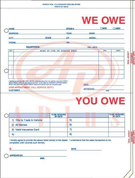 printable i owe you templates i owe you form free printable documents