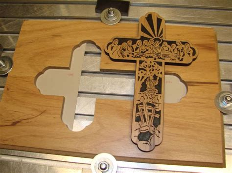 wood pattern machine cnc wood patterns cross with last supper scene v carve
