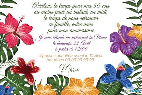 1325003905 fleurs tropicales calendrier anniversaire 123 cartes invitation anniversaire 50 ans fleurs tropicales