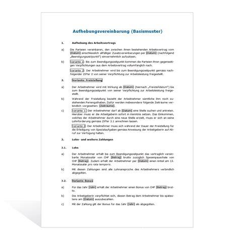 Musterbriefe An Den Chef Muster Aufhebungsvertrag