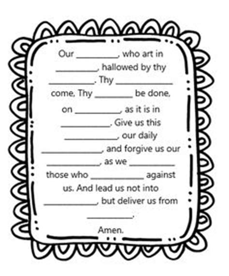 understanding the lord s prayer worksheet sunday school crossword worksheets activity sheets work of holy spirit sunday