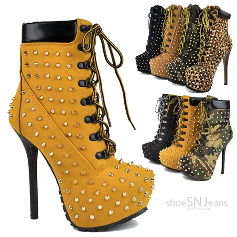 high heels lace up boots high heel spike studs booties lace up platform
