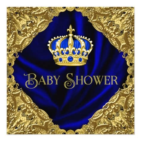 Royal Blue Baby Shower Invitations by Royal Blue And Gold Crown Baby Shower Invitation Zazzle