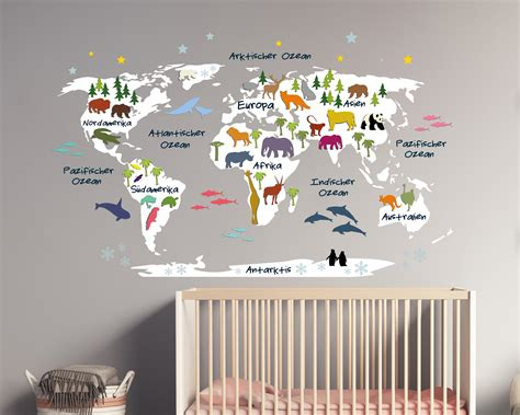 Wandtattoo Kinderzimmer Weltkarte by Wandtattoo Weltkarte F 252 R Kinder Deko F 252 Rs Kinderzimmer