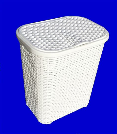 White Straw Effect Plastic Laundry Basket Hamper With Laundry With Lid
