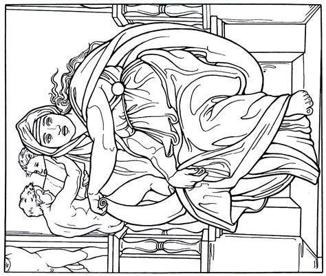 printable coloring pages renaissance the delphic sibyl from the sistine chapel painting by