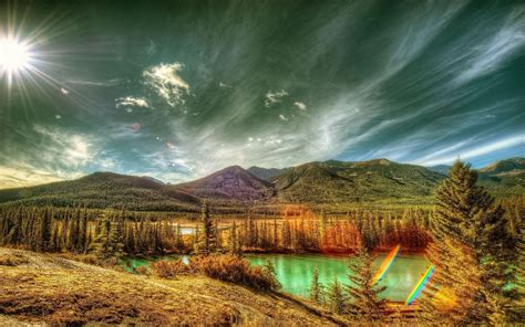 landscape nature canada mountain forest clouds river