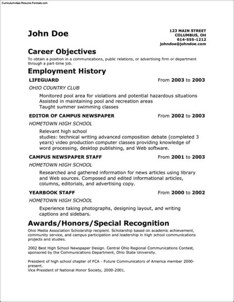 Free Student Resume Templates by Simple Student Resume Template Free Sles Exles