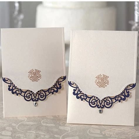 High Quality Wedding Invitation Cards by Navy Blue Laser Edge Design Wedding Invitation Cards High