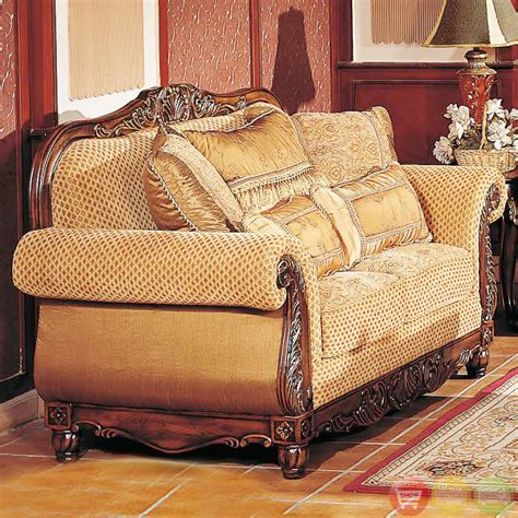 Formal Sofa Sets by Traditional Medium Cherry Formal Sofa Set With Carved Accents Rpcmo73