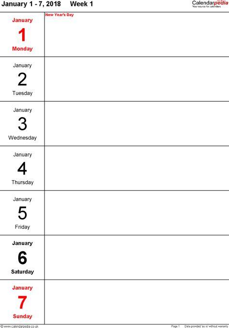 weekly calendar uk printable templates