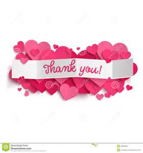 thank you text on white paper banner and pink hearts stock