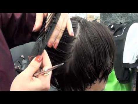 scissor short hair haircutting layer haircut with scissors youtube