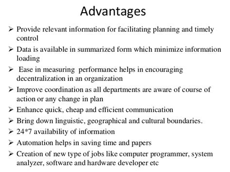 Benefit Of Change Mba To Ms In Mis by Advantages And Disadvantages Of Mis