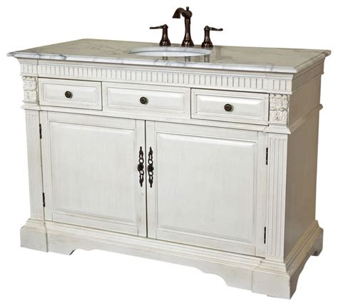 50 inch single sink vanity wood antique white modern