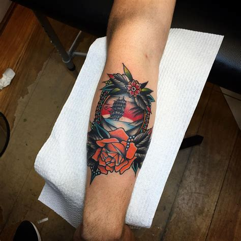 ship and rose tattoo ship and best ideas gallery