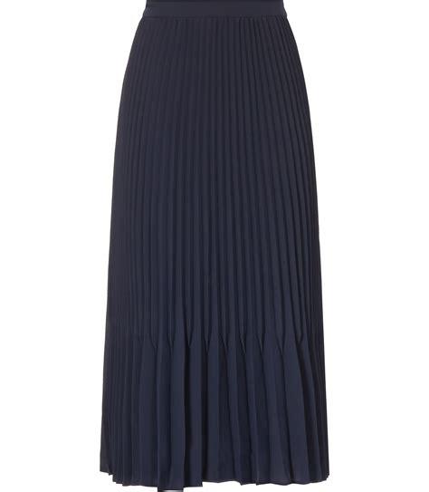 reiss baltimore pleated midi skirt in blue navy lyst