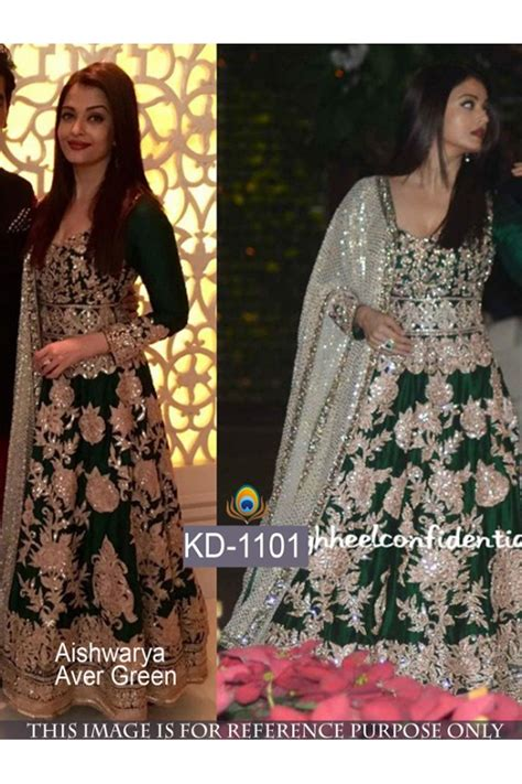 Bollywood Replica   Aishwarya Rai Designer Green Heavy Worked Floor Length Anarkali Suit   KD