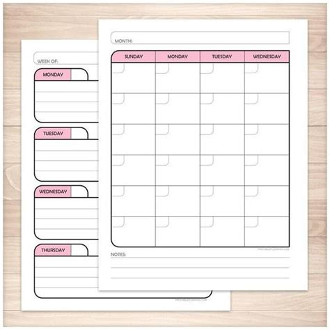 blank monthly planner pages pink monthly weekly calendar planner pages printable at