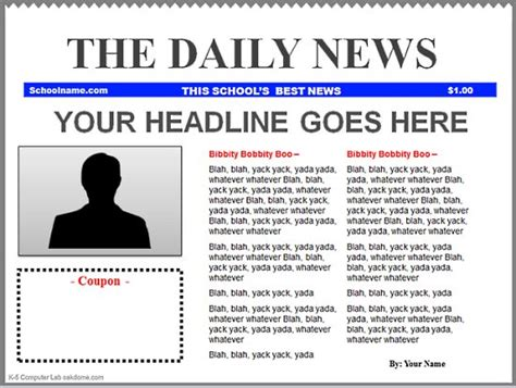 word newspaper template free powerpoint newspaper templates k 5 computer lab